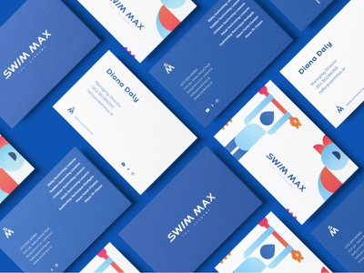Business cards for swimmax academy children coaches trainer training the academy wordmark identity design sports branding modern identity illustrations ducks swimming pool sports natales toddlers kids academy swimming