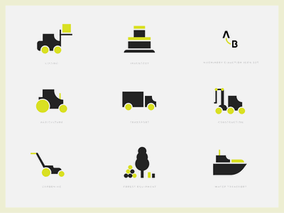 Machinery eCommerce Iconset inventory transport agriculture lifting construction design minimalistic vector branding green modern falt icons flat icons iconset identity icons ecommerce design ui auction icons machinery ecommerce