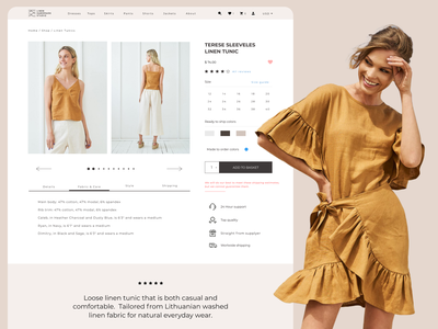 Product page for linen clothing e-commerce sustainable identity identity modern ecommerce modern brand linen fashion llinen shop product page ui ui ux clothing ecommerce sustainable fashion women sea linen fashion ecommerce fashion website sustainable product page webdesign eshop ecommerce