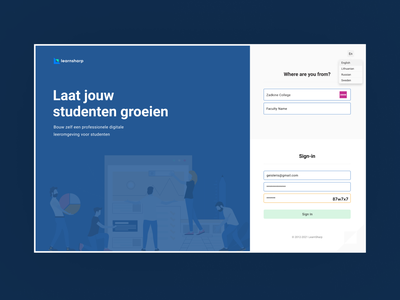 Learnsharp Log-in ui product welcome page product design teachers docent student university schools saas saas product educational product ux ui login product login