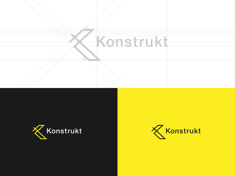 Konstrukt logotype woodworking unique yellow engineer constructions wood bulder typography solid logotype graphicdesign minimalistic construction identity design branding logo vector symbol modern