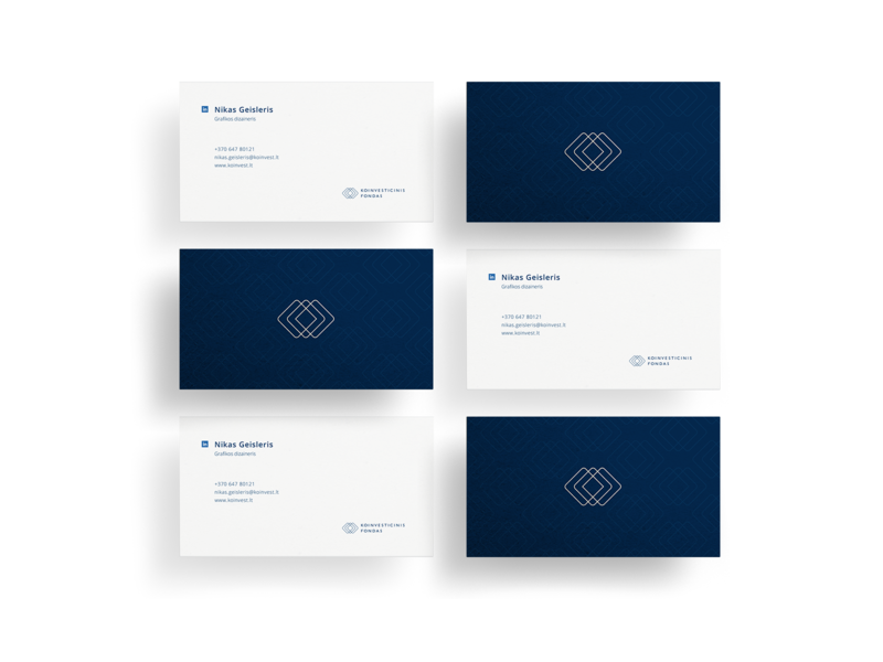 Koinvesticinis fondas business cards classic start-ups money raise funding business pattern geometry blue construction logotype graphicdesign minimalistic identity design branding vector symbol logo modern