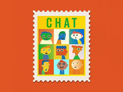 Quarantivities Stamps: Chat chat zoom quarantine stamp illustration