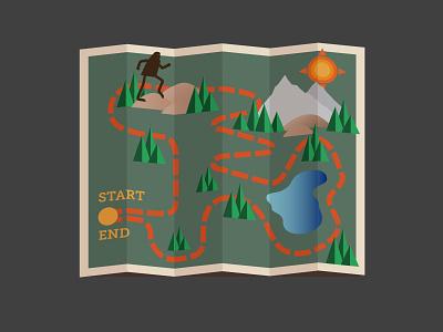 BF Hike illustration vector map yeti