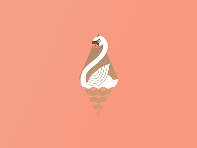 Swan Swimming art deco swan 12 days of christmas festive holiday christmas vector illustration