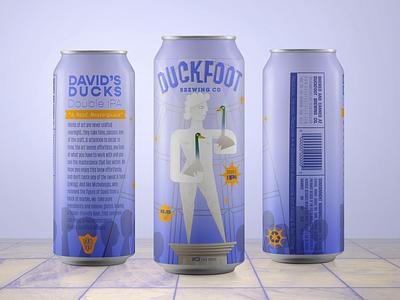 Davids Ducks Beer beer label beer can illustration
