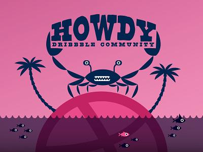 Howdy Dribbble design illustration
