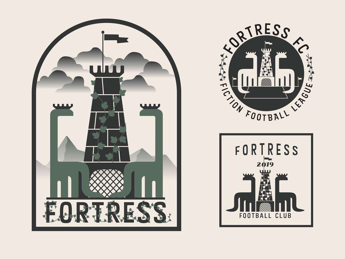 Fortress FC Fiction Football League castle dinosaur logo illustration sports soccer football crest branding badge