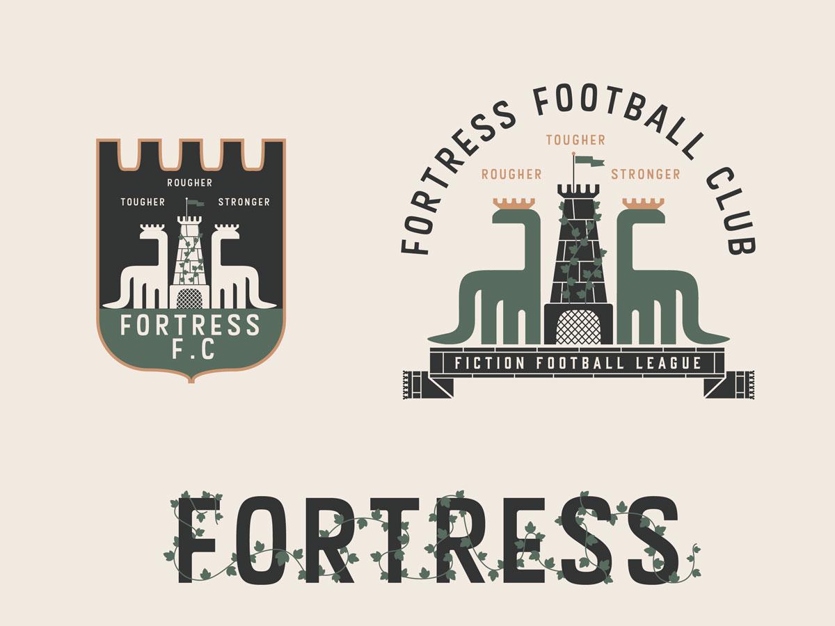 Fortress FC Fiction Football League #2 crest castle dinosaur sports soccer football logo illustration branding badge