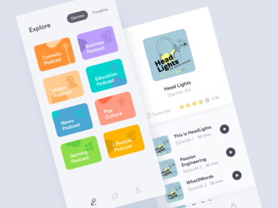 Podcast App | Categories | Mobile