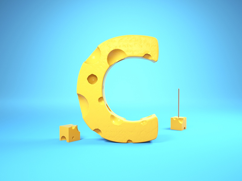 C = Cheese 36 days of type cheese c cinema4d illustration type typography