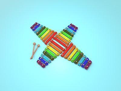 X = Xylophone render 36 days of type x xylophone cinema4d illustration type typography c4d 3d