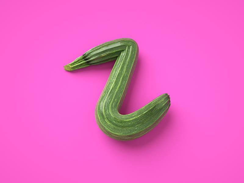Z = Zucchini 3d typography c4d type illustration cinema4d zucchini z 36 days of type render