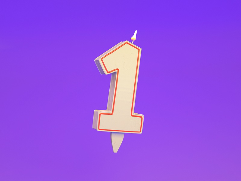 1 = Candle 3d typography c4d type illustration cinema4d candle 1 36 days of type render