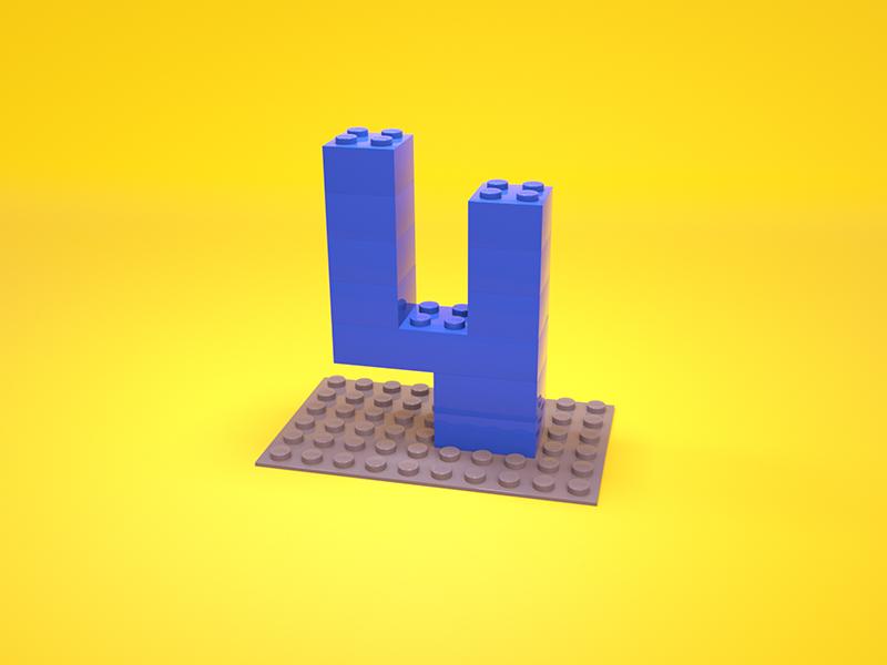 4 = Lego 3d typography c4d type illustration cinema4d lego 4 36 days of type render