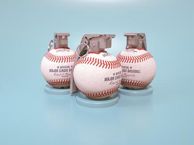 Baseball Grenade ball render mlb baseball grenade cinema4d 3d