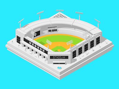 Isometric Baseball Field isometric render 3d illustration cinema4d