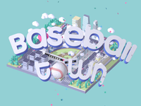 Baseball Town isometric animation baseball typography c4d illustration cinema4d