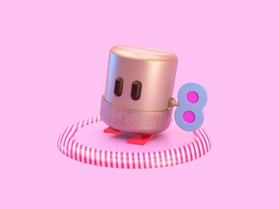 Zen Chan Bobble Bubble loop walkcycle animation 3d character 3d cinema4d