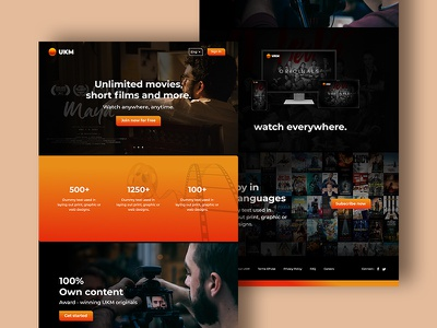 UKM icon minimal app typography design ui adobe xd layout web movies online logo design website design ott landing page