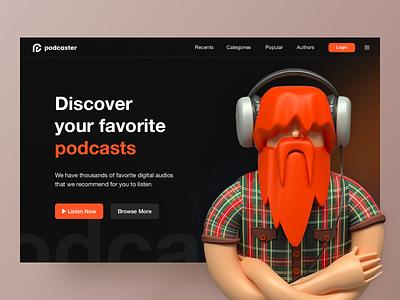 Podcast homepage design landing page illustration branding interaction podcast app design music ux design ui design web design website design home page design ux ui