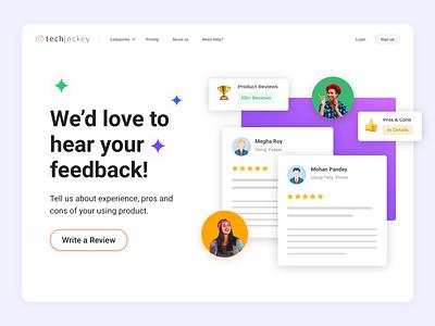 Customer Feedback UI design illustration ui interaction design ratings customer experience ecommerce flat review product design landing page customer web design feedback