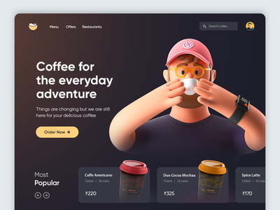 Coffee Online UI Concept homepage design ecommerce ui product page online order food app ecommerce online store coffee shop coffee beans starbucks espresso ui ux drinks tea coffee