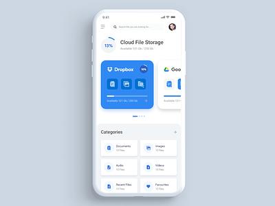 Cloud Storage App mobile app ux ios app file storage cloud storage app design app ui