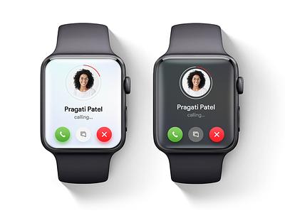 iWatch Call Screen UI dark mode iwatch uidesign uxdesign illustration watch ui calling call ui uiux ui smart watch
