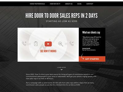 Homepage design snippet, national salesperson sourcing agency modern orange black explainer video homepage website design sales salespeople