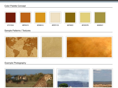 African Safari Website Moodboard safari web design website design africa moodboard