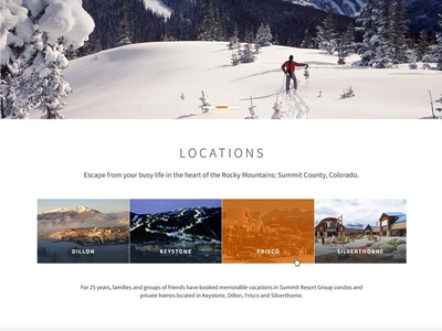 Colorado resort lodging website homepage snippet vacation winter rentals resort lodging snow homepage