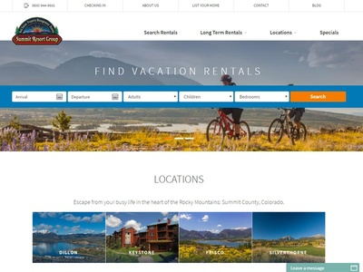 New homepage layout design for Colorado resort lodging company rentals design homepage company lodging resort colorado