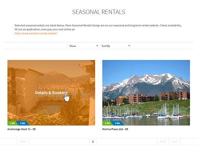 Season Rentals booking page website design layout lodging colorado orange layout design website page booking rentals season