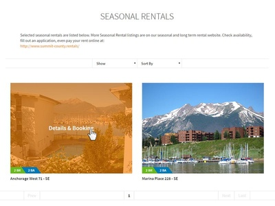 Season Rentals booking page website design layout lodging colorado orange layout design website page booking rentals season