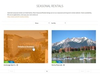 Season Rentals booking page website design layout