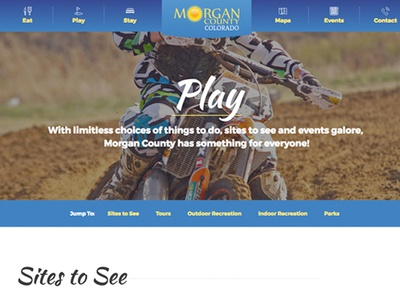 Tourism website internal page header adventure banner header colorado tourism website design custom design