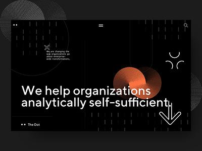 Dot - Dark landing page exploration flat illustration clean vector sketch app typography web webdesign design ui