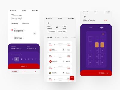 Bus booking application - concept pitch application ux mobile app design mobile app design system app design app clean