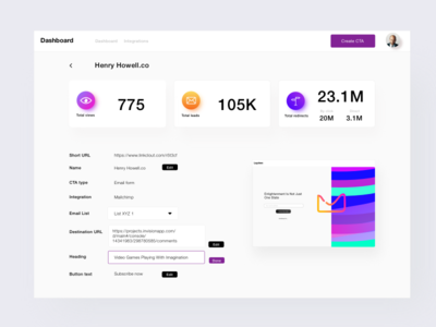 User Dashboard Design - Edit Current CTA