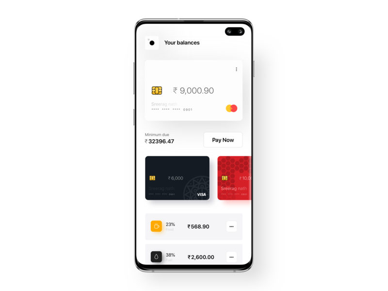 Budget section for credit card app by Sreerag Nath on Dribbble