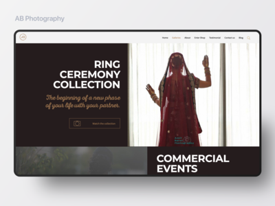 Photography landing page web design
