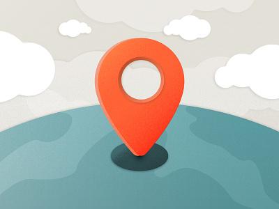 Plugin Google Maps API location clouds earth plugin globe pointer marker map illustration