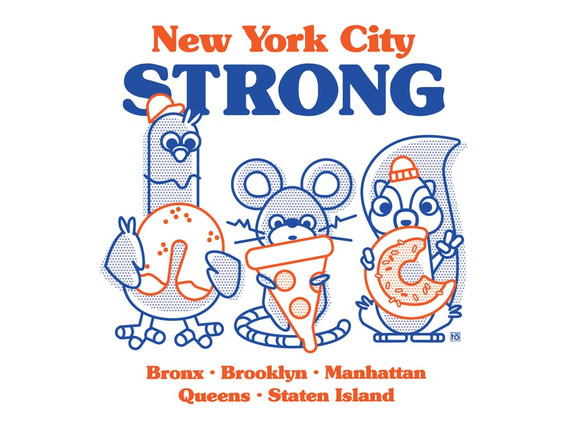 NYC Strong pizza pretzel bagel donut squirrel rat pigeon new york city new york donate fundraiser charity covid strong nyc