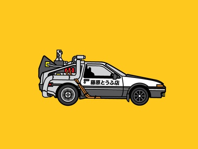 Initial D-Lorean drift initial-d back to the future delorean fujiwara tofushop