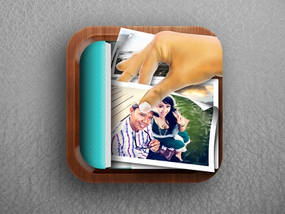 Pic Collect Album icon ui design chat ios graphic iphone free illustration square rounded wood album photo mobile elements pick collect blue