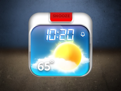 Weather Alarm blue elements mobile rounded square illustration free iphone graphic ios design ui icon sun cloud alarm weather snooze