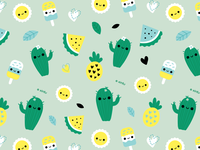 Tropicana Wallpaper ice cream surface pattern pineapple cactus pattern wallpaper
