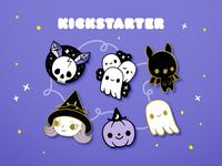 Creepy Cute Halloween Enamel Pins skull bat pumpkin witch ghost halloween enamel pins kickstarter kawaii cute
