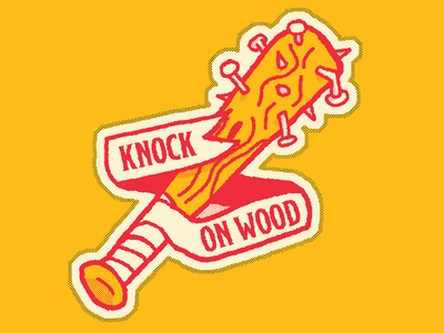 Knock on wood sensitive tough guys sticker nails baseball bat
